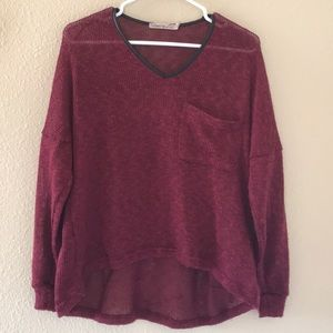 BURGANDY HI-LOW SWEATER